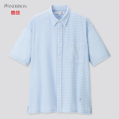 Men Seersucker Checkeded Short-Sleeve Shirt (Jw Anderson), Blue, Medium
