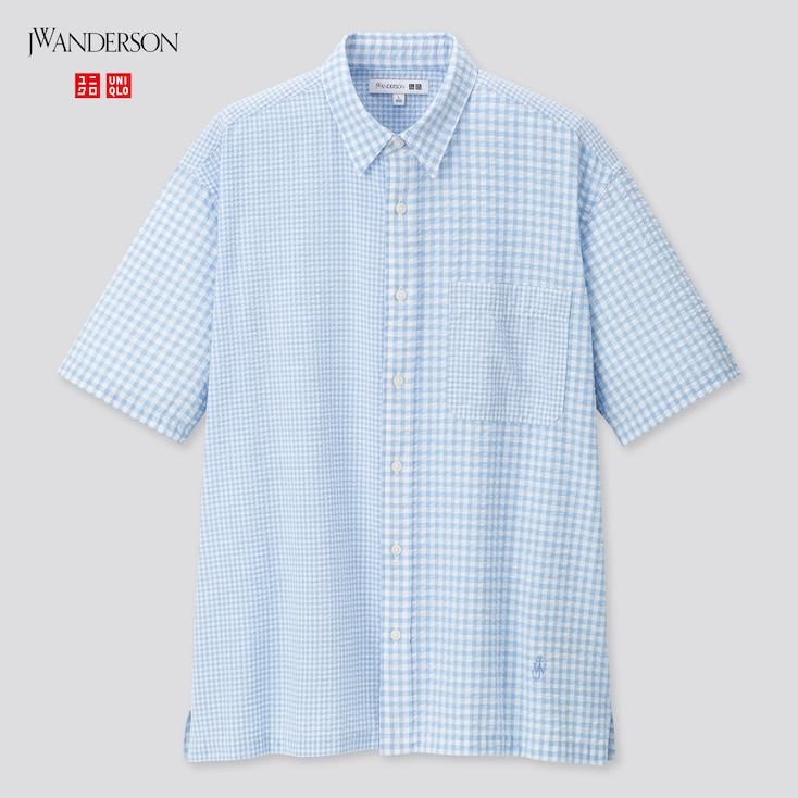 Men Seersucker Checked Short-Sleeve Shirt (Jw Anderson), Blue, Large