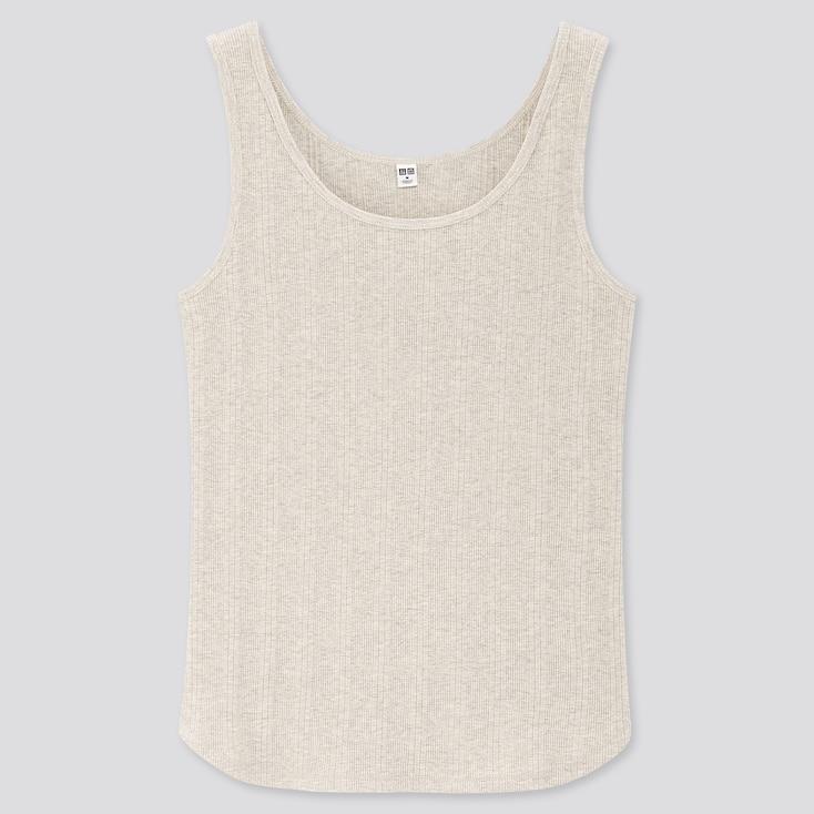 Women Random Ribbed Tank Top, Light Gray, Large