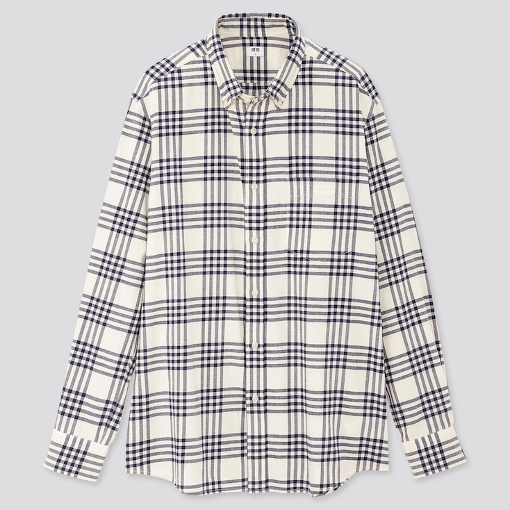 Men Flannel Checked Long-Sleeve Shirt, Off White, Large