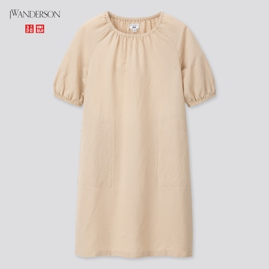 Girls Linen Blended Half Sleeve Dress (Jw Anderson), Beige, Medium