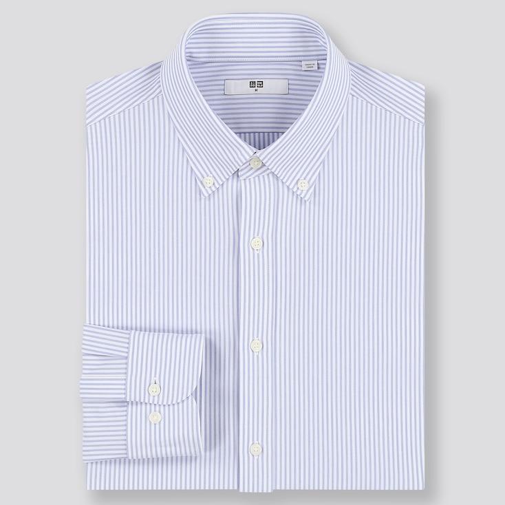 Men Easy Care Comfort Striped Long-Sleeve Shirt, Blue, Large