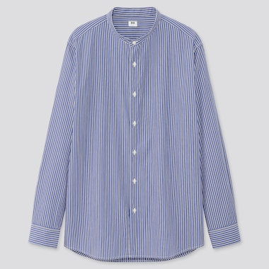 Men Extra Fine Cotton Broadcloth Regular Fit Striped Shirt (Grandad Collar)