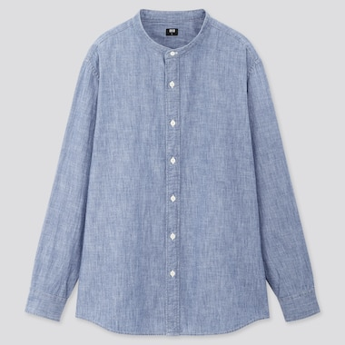 Men Chambray Stand Collar Long-Sleeve Shirt, Blue, Medium