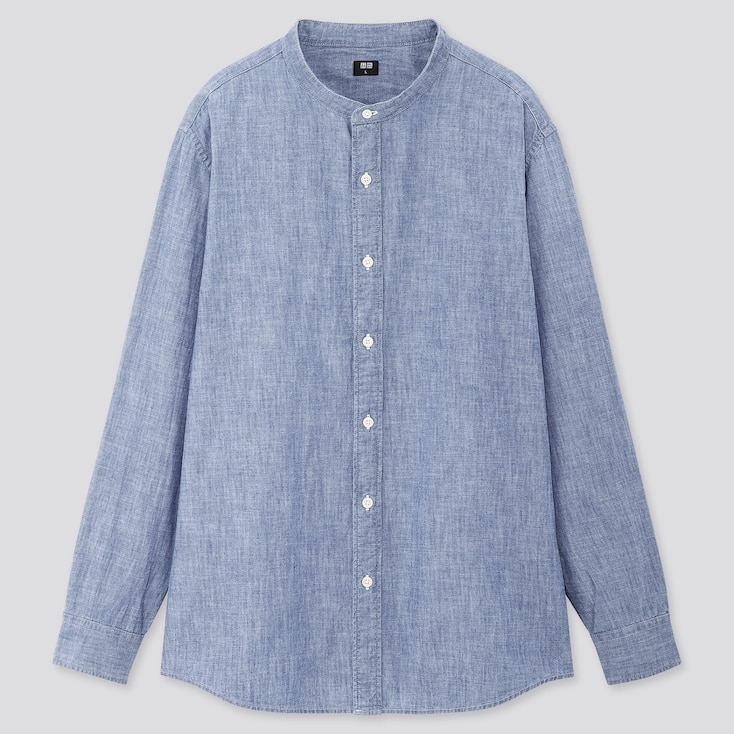 Men Chambray Stand Collar Long-Sleeve Shirt, Blue, Large