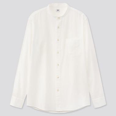MEN SOFT TWILL STAND COLLAR LONG-SLEEVE SHIRT, OFF WHITE, medium