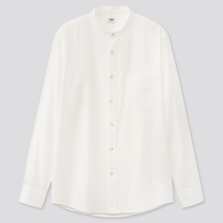 Men Soft Twill Stand Collar Long-Sleeve Shirt, Off White, Large