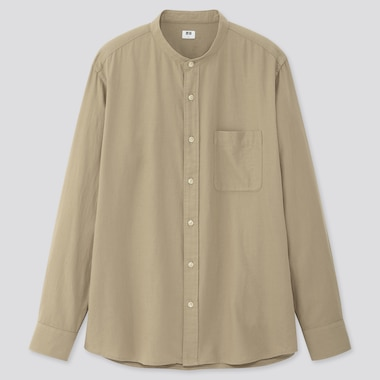 Men Soft Twill Stand Collar Long-Sleeve Shirt, Beige, Medium