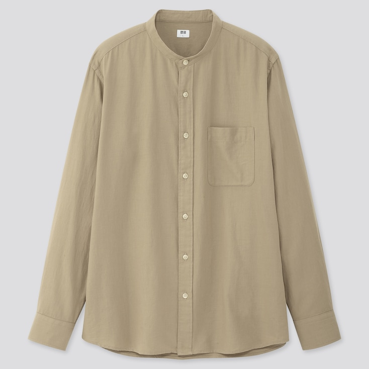 Men Soft Twill Stand Collar Long-Sleeve Shirt, Beige, Large