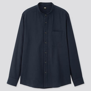 MEN SOFT TWILL STAND COLLAR LONG-SLEEVE SHIRT, NAVY, medium