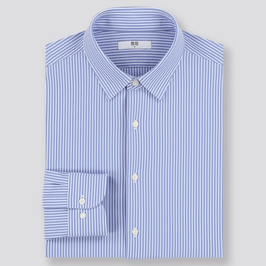 Men Easy Care Comfort Striped Long-Sleeve Shirt, Blue, Medium