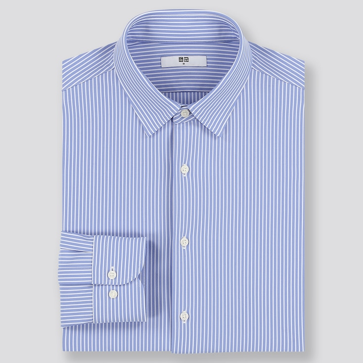 Men Easy Care Comfort Striped Long-Sleeve Shirt, Blue, Large