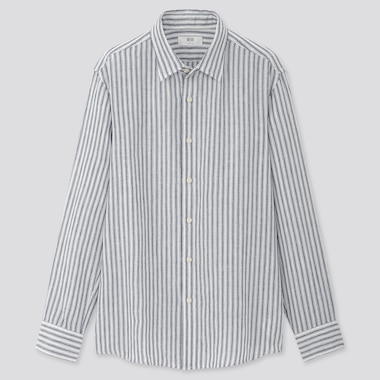 Men 100% Premium Linen Regular Fit Striped Shirt (Regular Collar)