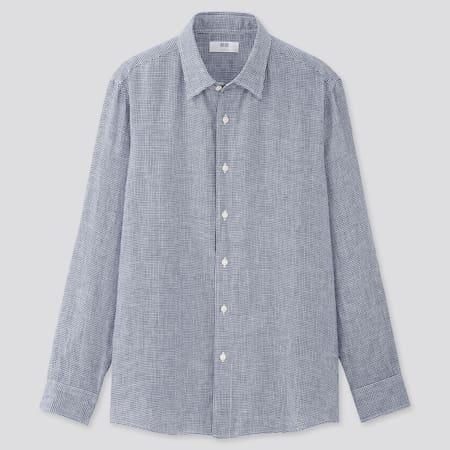 Men 100% Premium Linen Regular Fit Checked Shirt (Regular Collar)