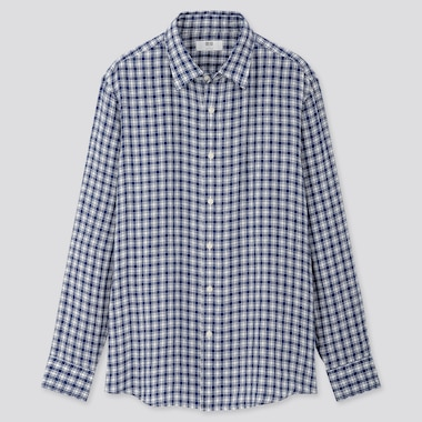 Men 100% Premium Linen Regular Fit Checked Shirt (Regular Collar)