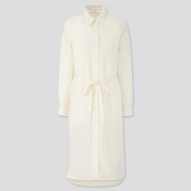 Women Linen Blended Long-Sleeve Shirt Dress, Off White, Medium