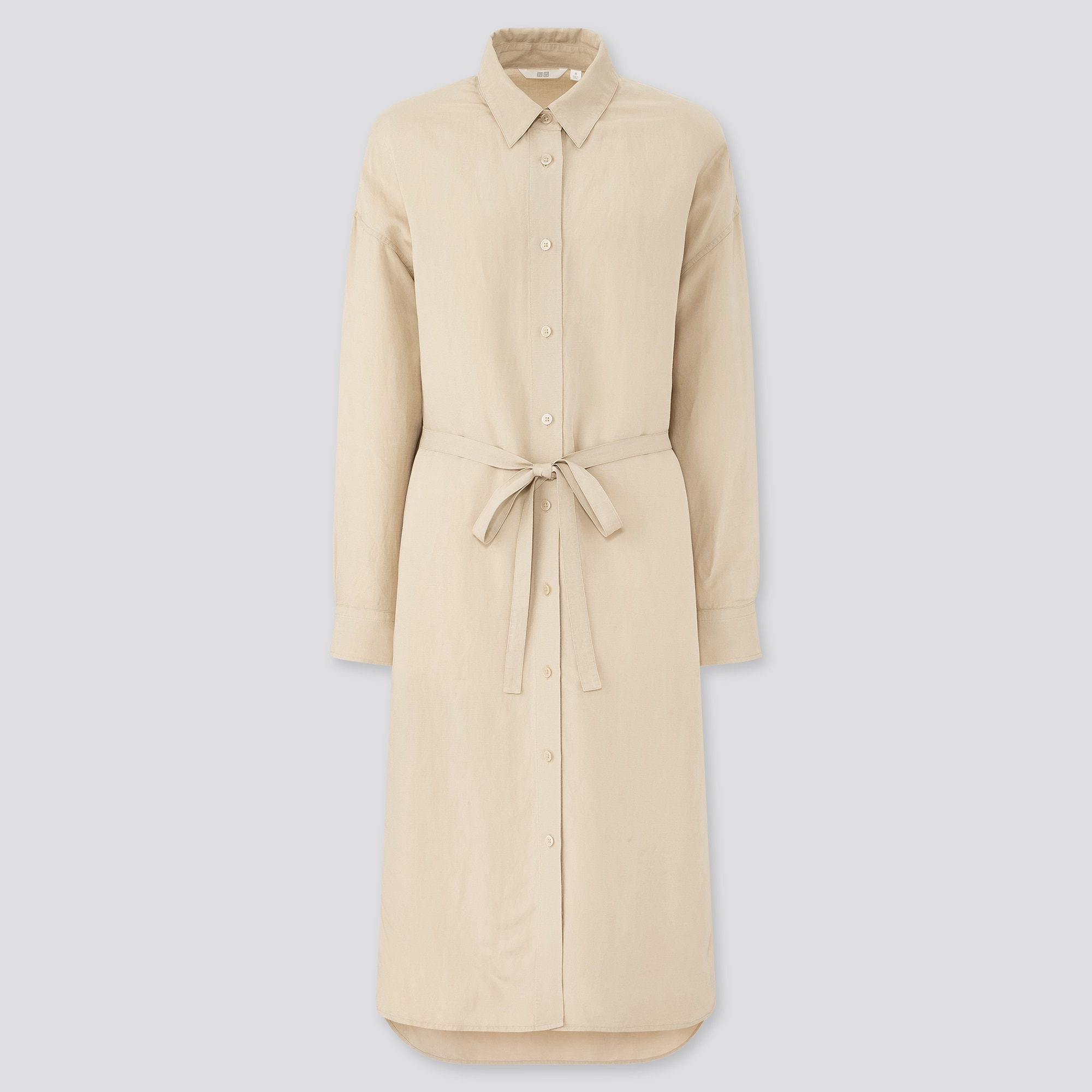 WOMEN LINEN BLENDED LONG-SLEEVE SHIRT DRESS   UNIQLO US