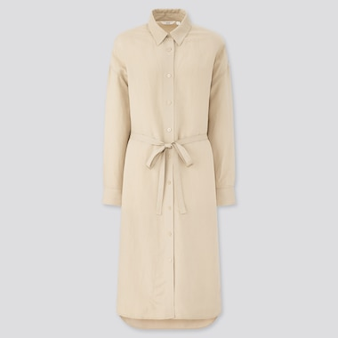 Women Linen Blended Long-Sleeve Shirt Dress, Beige, Medium
