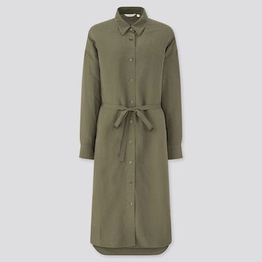 Women Linen Blended Long-Sleeve Shirt Dress, Olive, Medium