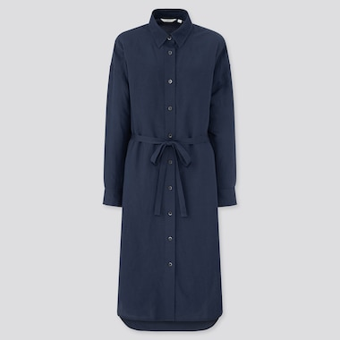 Women Linen Blended Long-Sleeve Shirt Dress, Blue, Medium