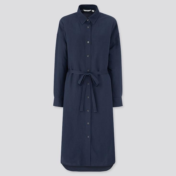 Women Linen Blended Long-Sleeve Shirt Dress, Blue, Large
