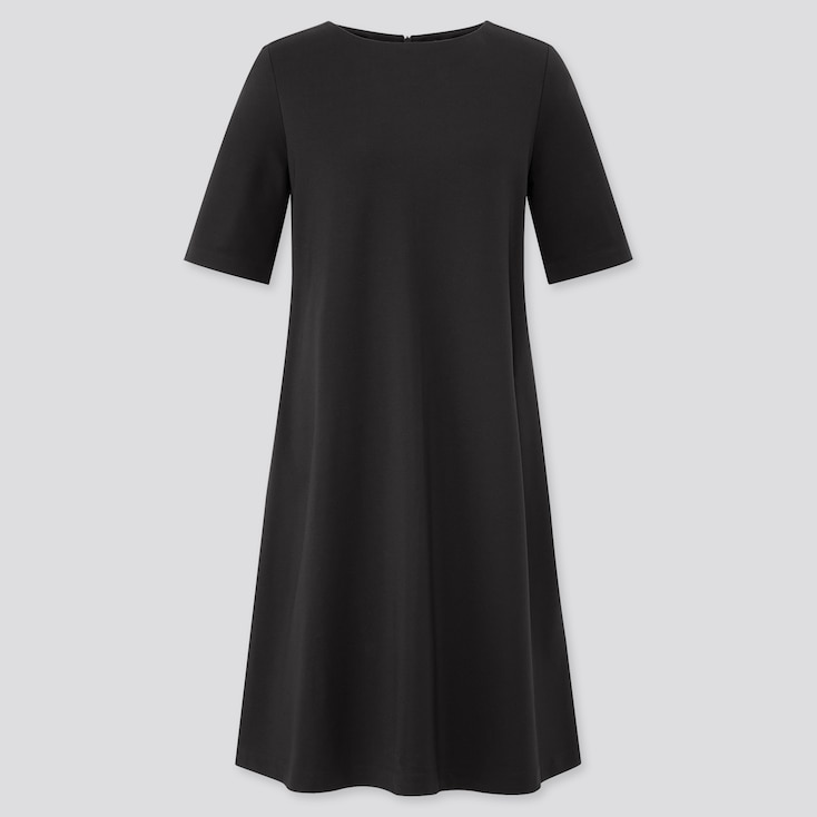 Women Ponte A-Line Half Sleeve Dress, Black, Large