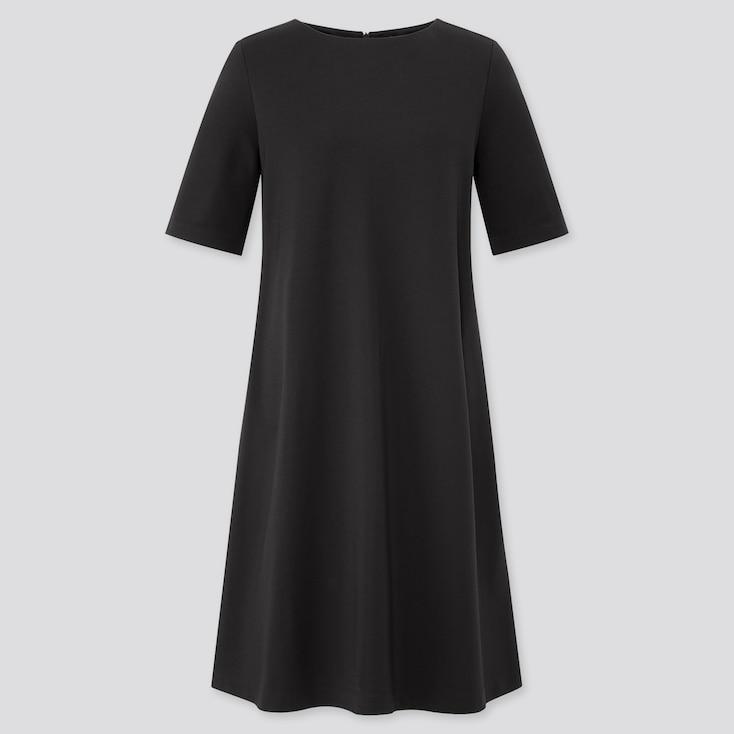 Women Ponte A-Line Half Sleeve Dress, Black, Large