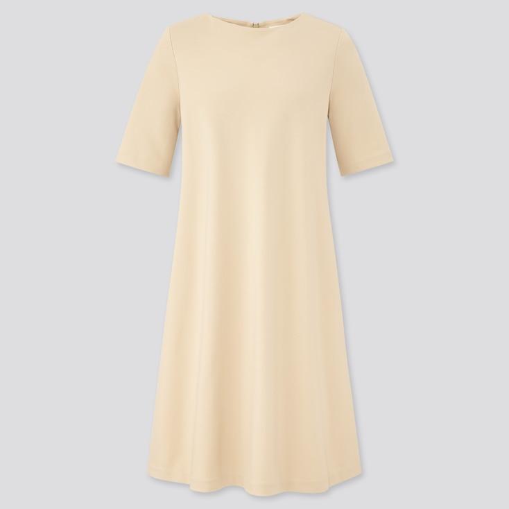 Women Ponte A-Line Half Sleeve Dress, Natural, Large