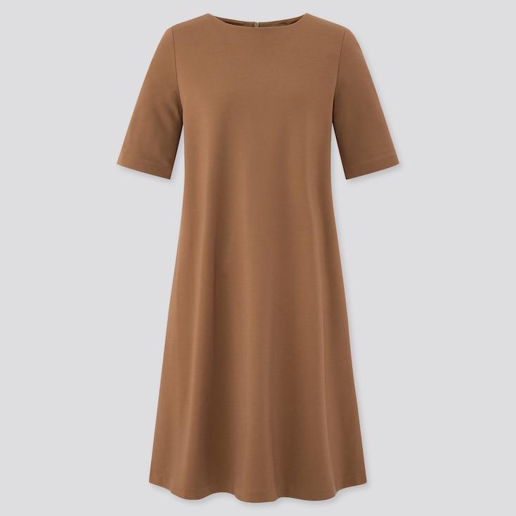 Women Ponte A-Line Half Sleeve Dress, Brown, Large
