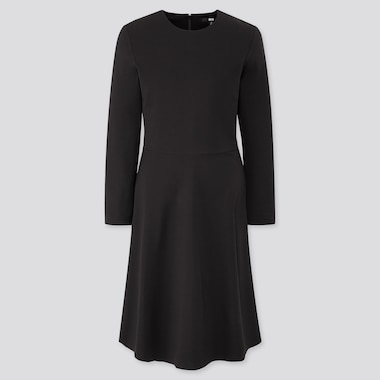 Women Ponte Knit Flared Long Sleeved Dress