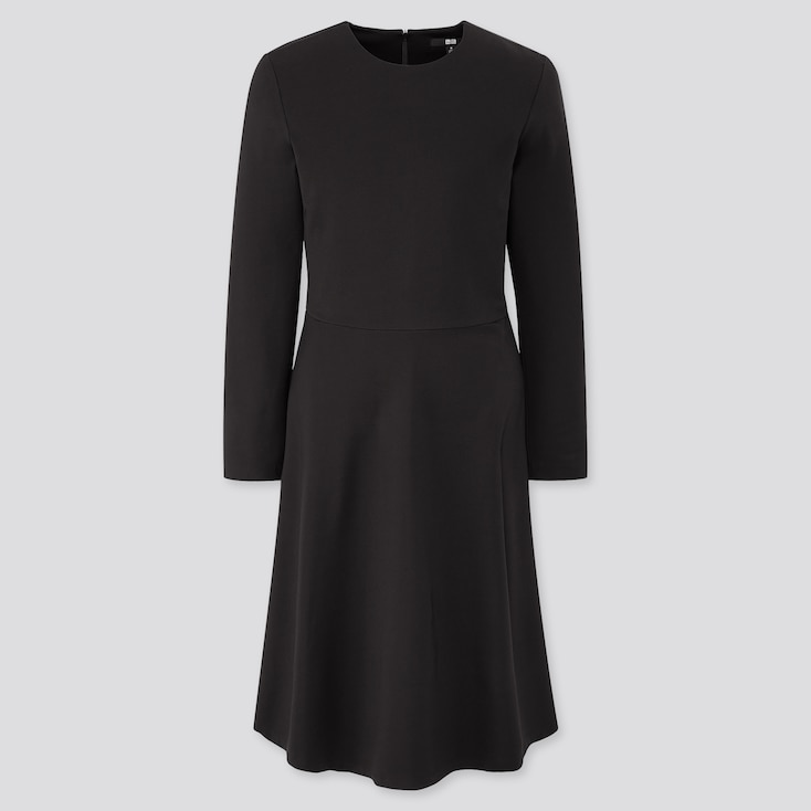 Women Ponte Flare Long-Sleeve Dress, Black, Large