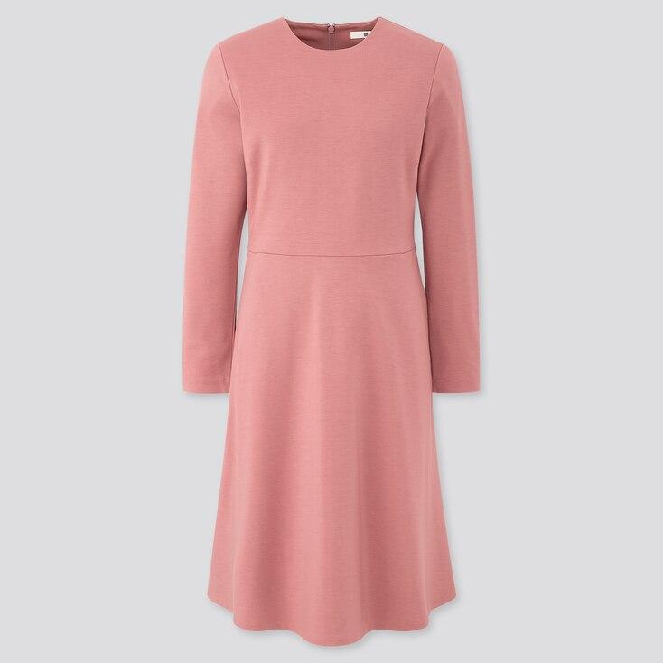 Women Ponte Flare Long-Sleeve Dress, Pink, Large