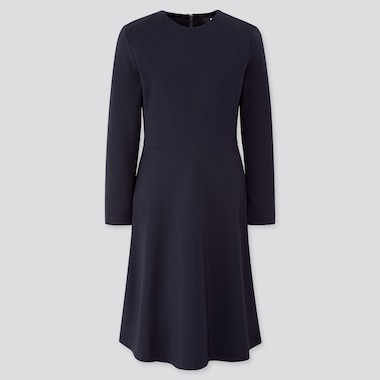 Women Ponte Flare Long-Sleeve Dress, Navy, Medium