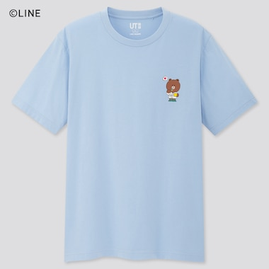 Line Friends Ut (Short-Sleeve Graphic T-Shirt), Blue, Medium