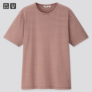 Men U Striped Short-Sleeve T-Shirt, Brown, Medium