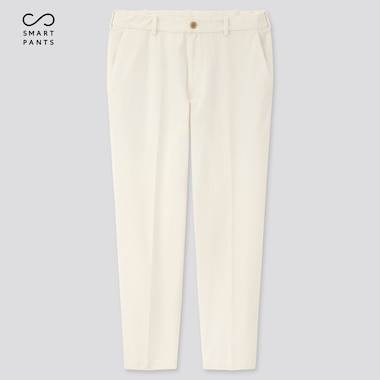 "Men Ezy 2-Way Stretch Cotton Ankle-Length Pants (Tall 31""), Off White, Medium"