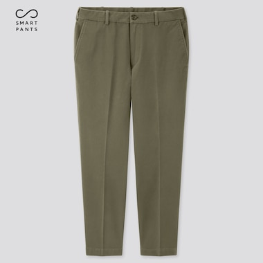 "Men Ezy 2-Way Stretch Cotton Ankle-Length Pants (Tall 31""), Olive, Medium"