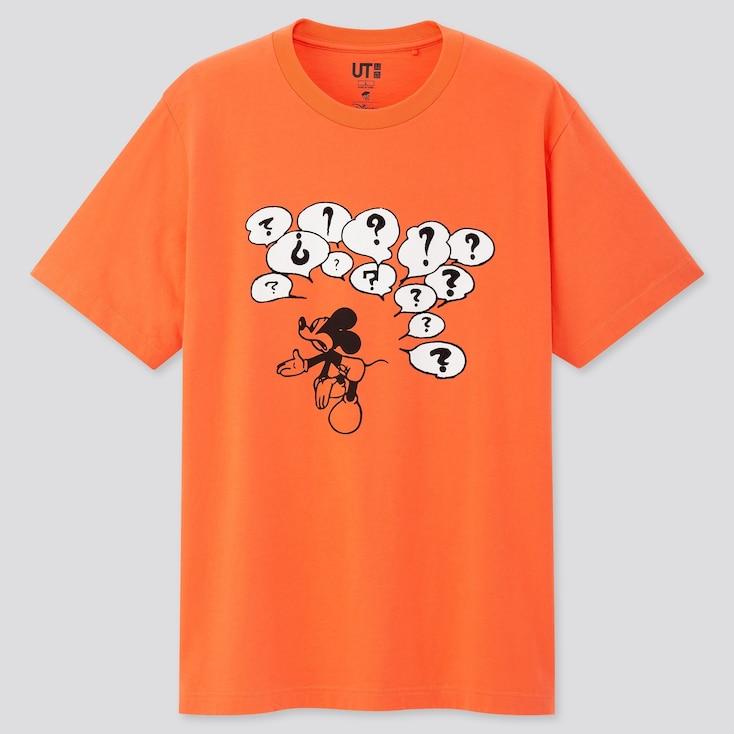 Mickey Manga Art Ut Osamu Tezuka (Short-Sleeve Graphic T-Shirt), Orange, Large