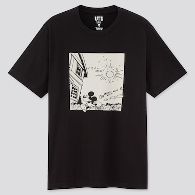 Mickey Manga Art Ut Osamu Tezuka (Short-Sleeve Graphic T-Shirt), Black, Medium