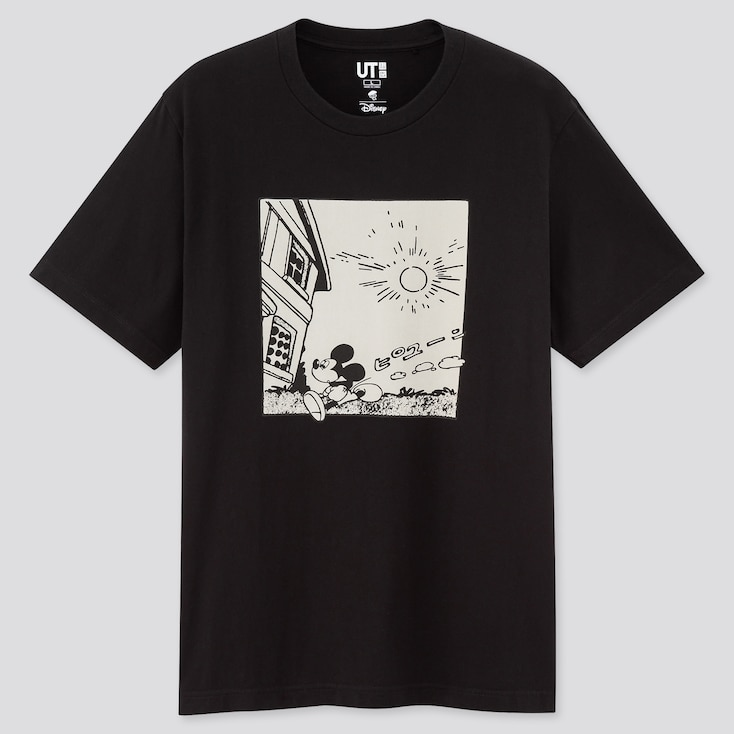 Mickey Manga Art Ut Osamu Tezuka (Short-Sleeve Graphic T-Shirt), Black, Large