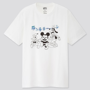 Mickey Manga Art Ut Fujio Productions (Short-Sleeve Graphic T-Shirt), White, Medium