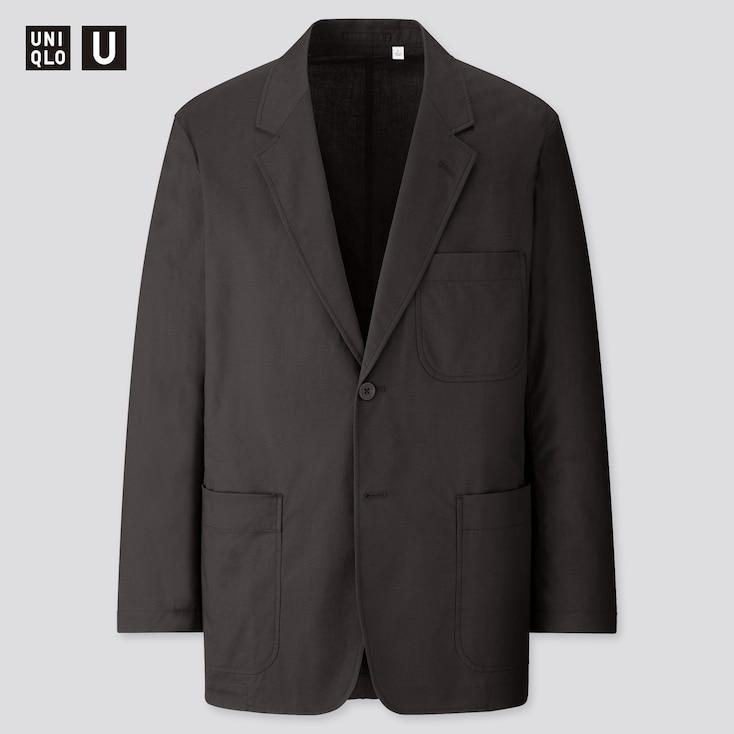 Men U Cotton Linen Jacket, Black, Large