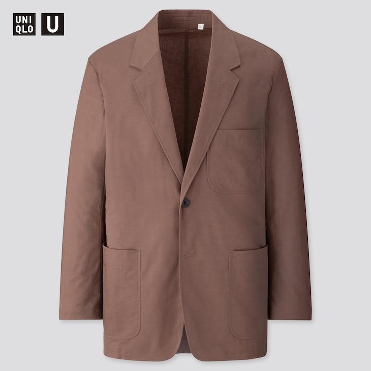 Men U Cotton Linen Jacket, Brown, Large