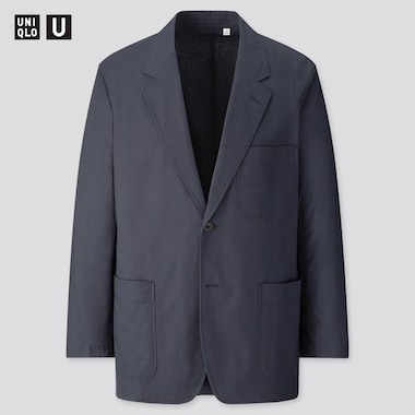 Men Uniqlo U Cotton Linen Blend Blazer Jacket