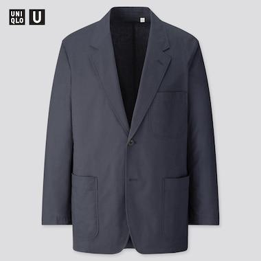 Men U Cotton Linen Jacket, Navy, Medium