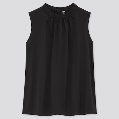 Women Mercerized Cotton Stand Collar Sleeveless T-Shirt, Black, Medium