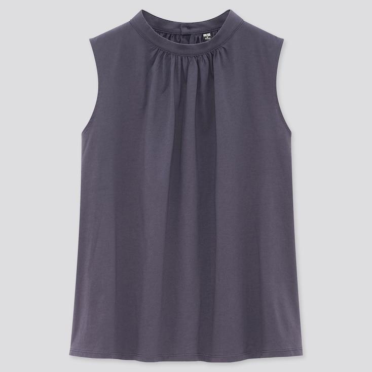 Women Mercerized Cotton Stand Collar Sleeveless T-Shirt, Blue, Large