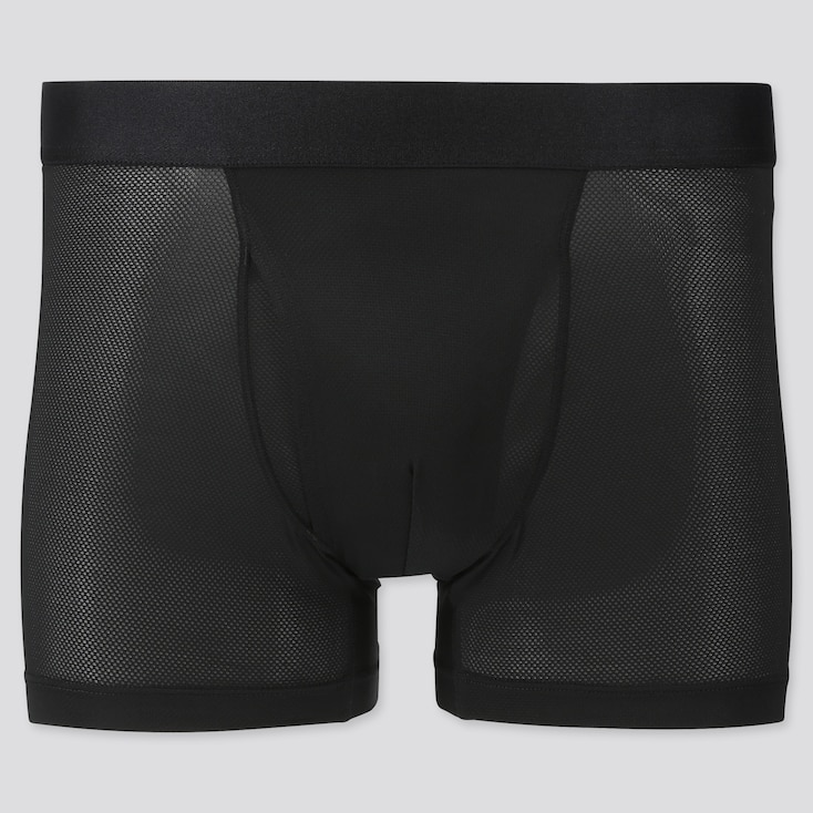 Men Airism Mesh Boxer Briefs, Black, Large