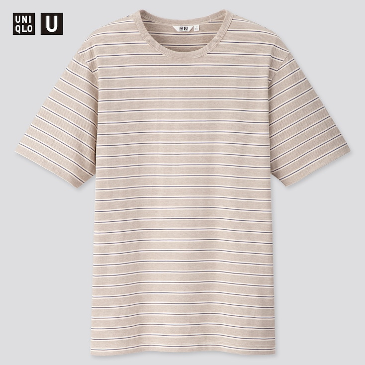 Men U Striped Short-Sleeve T-Shirt, Natural, Large