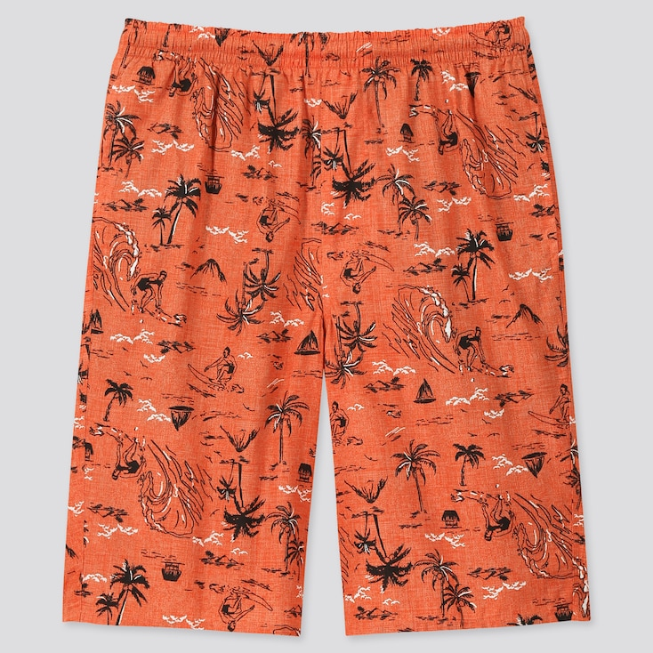 Men Light Cotton Easy Shorts (Online Exclusive), Orange, Large